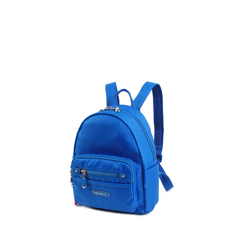 Backpack - Baxter Leather Trimmed Mini Backpack With Red Whistle Angled [Strong Blue]