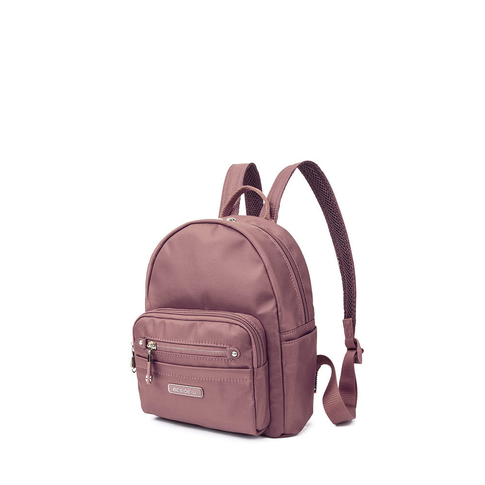 Backpack - Baxter Leather Trimmed Mini Backpack With Red Whistle Angled [Rose Taupe]