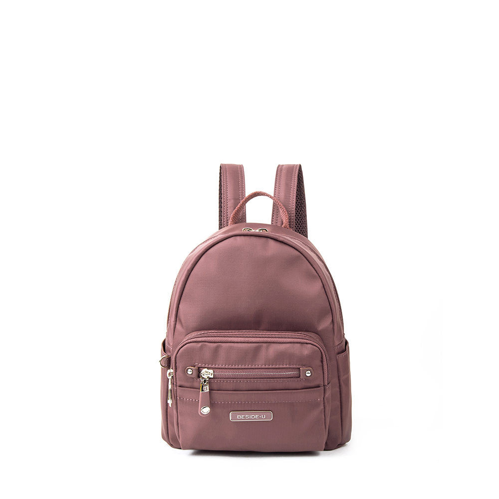 Backpack - Baxter Leather Trimmed Mini Backpack With Red Whistle Front [Rose Taupe]