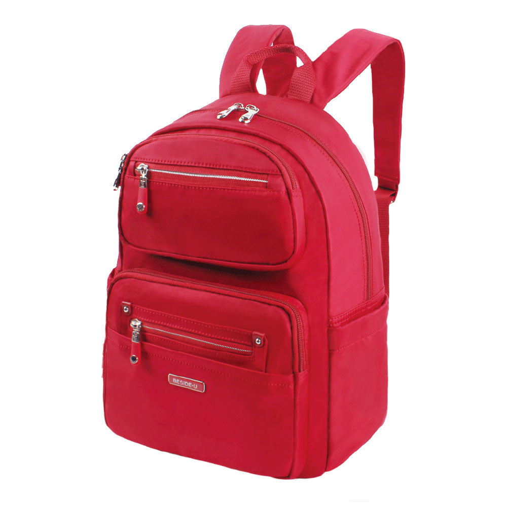 Backpack - Amarillo Leather Trimmed Adventurer Backpack Angled [Jester Red]