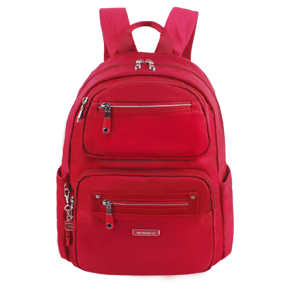 Backpack - Amarillo Leather Trimmed Adventurer Backpack Front [Jester Red]