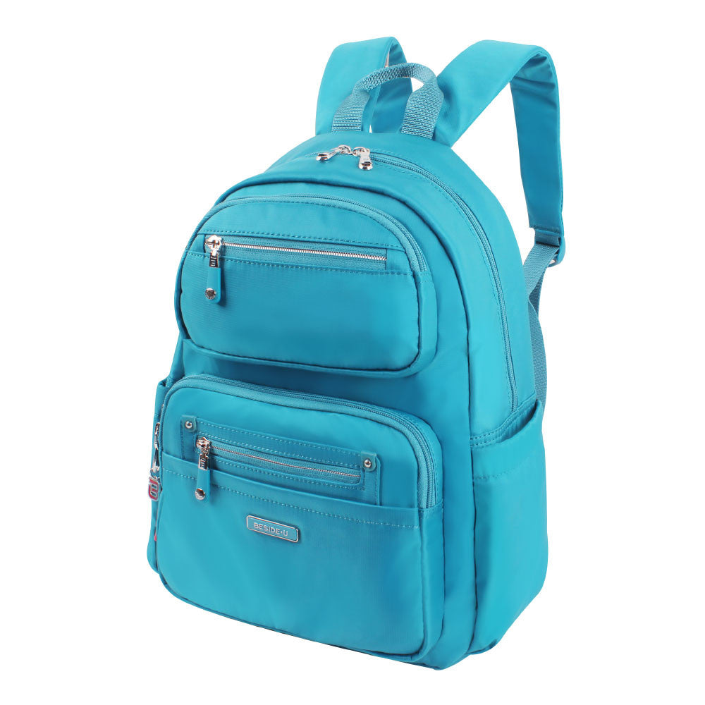 Backpack - Amarillo Leather Trimmed Adventurer Backpack Angled [Ocean Blue]