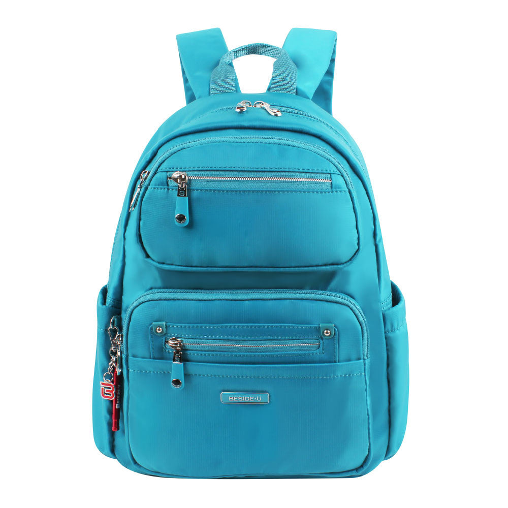 Backpack - Amarillo Leather Trimmed Adventurer Backpack Front [Ocean Blue]
