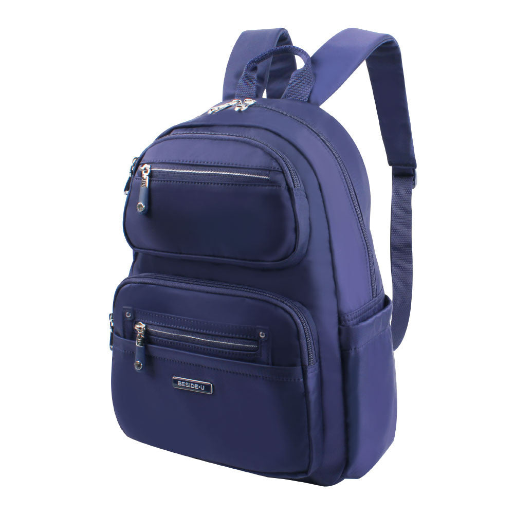 Backpack - Amarillo Leather Trimmed Adventurer Backpack Angled [Evening Blue]