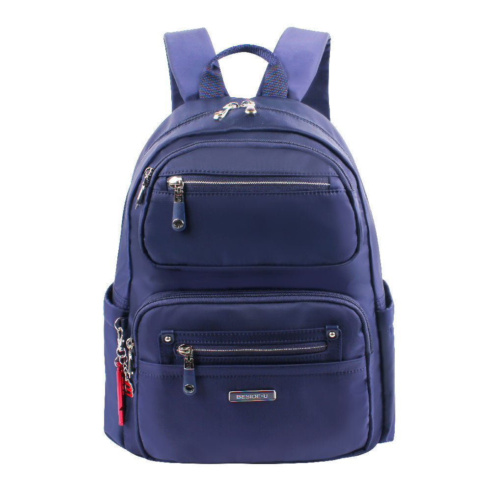 Backpack - Amarillo Leather Trimmed Adventurer Backpack Front [Evening Blue]