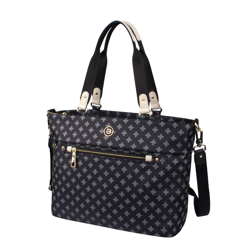 Satchel Handbag - Quint Printed Satchel Bag Angled [Black Cross Print]