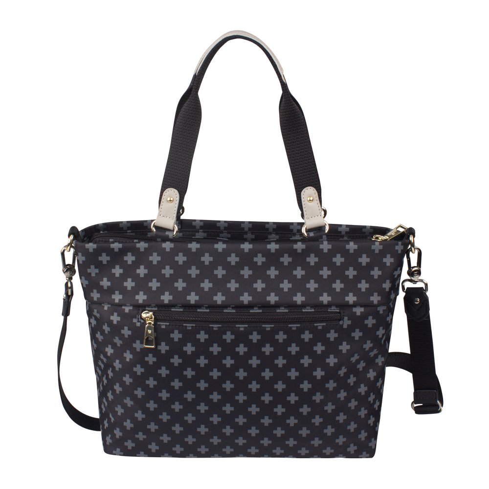 Satchel Handbag - Quint Printed Satchel Bag Back Black Cross Print