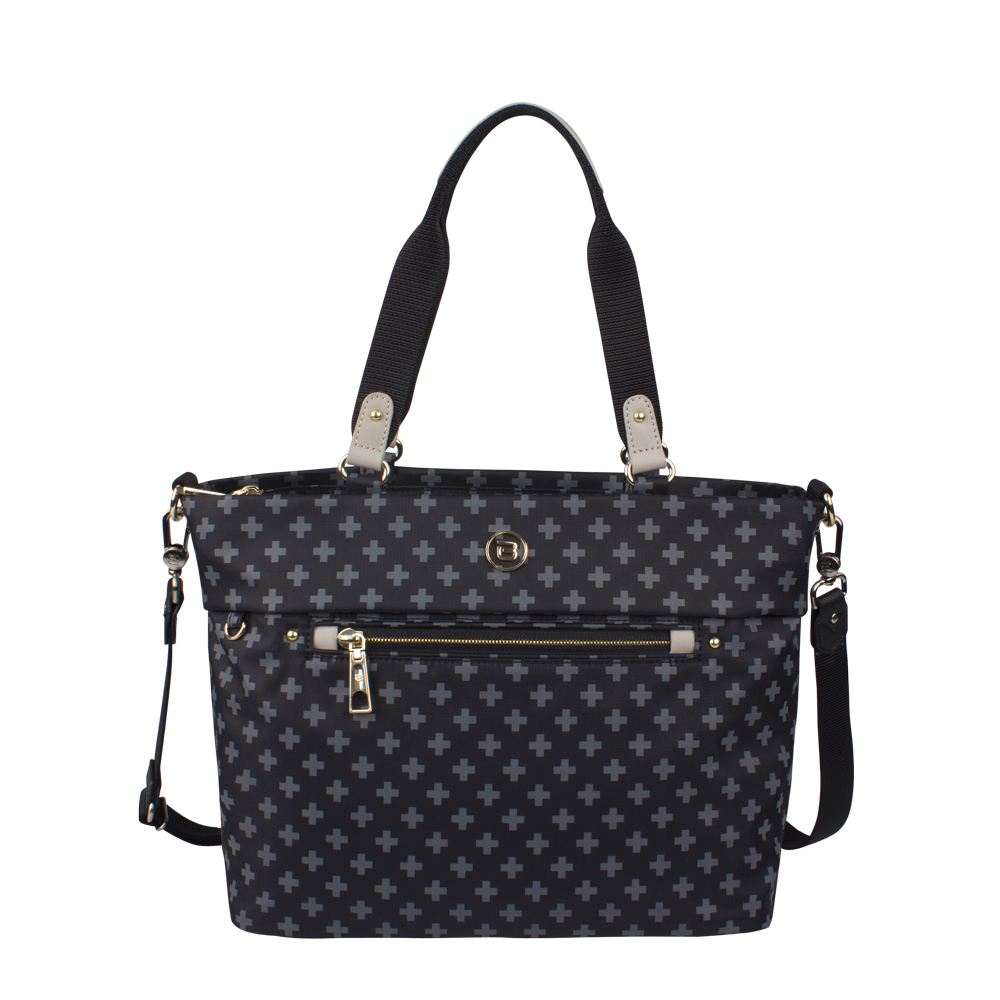 Satchel Handbag - Quint Printed Satchel Bag Front Black Cross Print