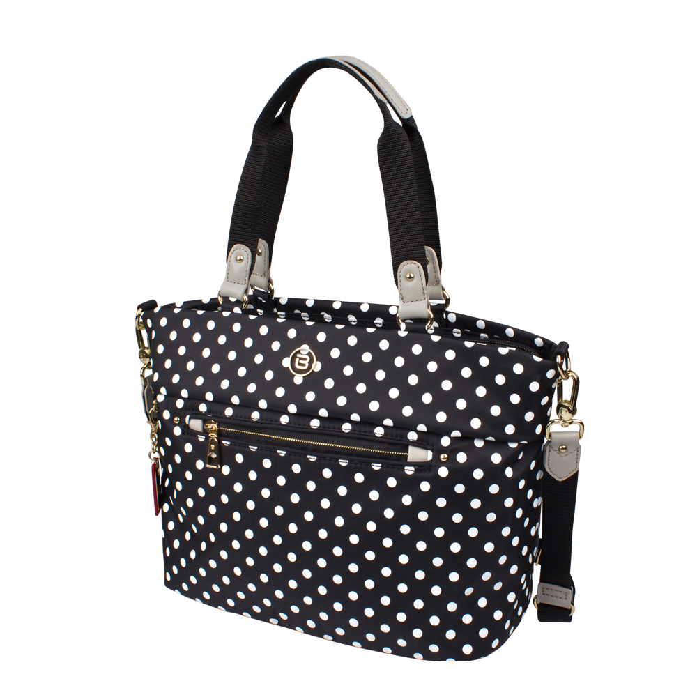 Satchel Handbag - Quint Printed Satchel Bag Angled [Black Polka Dots]