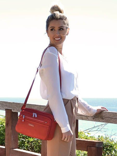 Crossbody Bag - Baker Leather Trimmed Medium Crossbody Bag With Red Whistle Tandoori Orange Model
