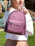 Backpack - Baxter Leather Trimmed Mini Backpack With Red Whistle Rose Taupe Model