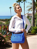 Crossbody Bag - Grenada Leather Trimmed Multi-Pocket Crossbody Bag With Red Whistle Strong Blue Model