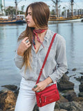 Crossbody Bag - Hemet Leather Trimmed Small Travel Crossbody Bag Model Jester Red