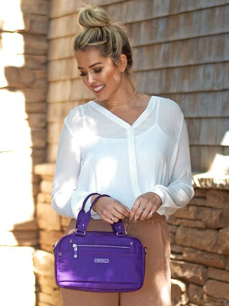 Satchel Handbag - Maarten Leather Trimmed Convertible Satchel Handbag With Round Dangle Majesty Purple Model