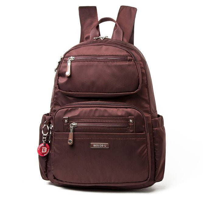 Backpack - Amarillo Leather Trimmed Adventurer Backpack Front [Bitter Brown]