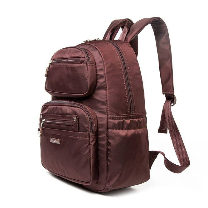 Backpack - Amarillo Leather Trimmed Adventurer Backpack Angled [Bitter Brown]