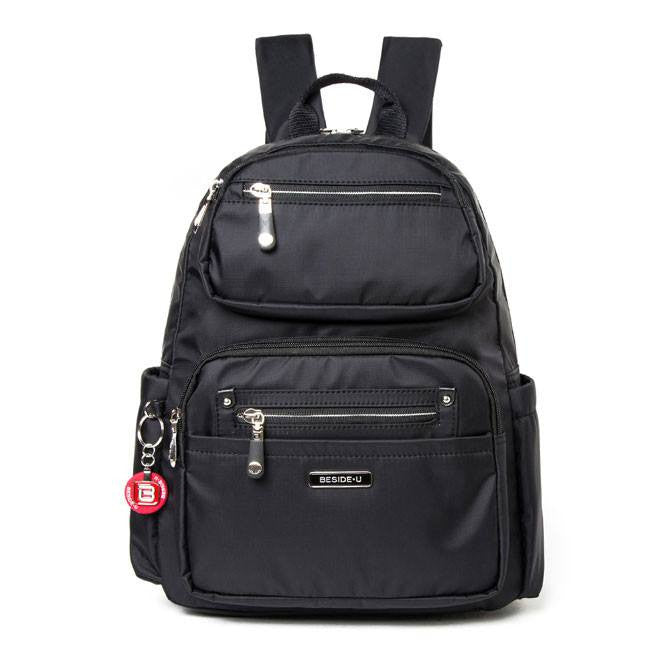 Backpack - Amarillo Leather Trimmed Adventurer Backpack Front [Black]