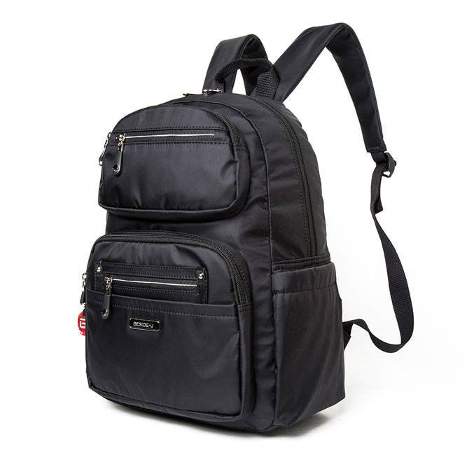 Backpack - Amarillo Leather Trimmed Adventurer Backpack Angled [Black]
