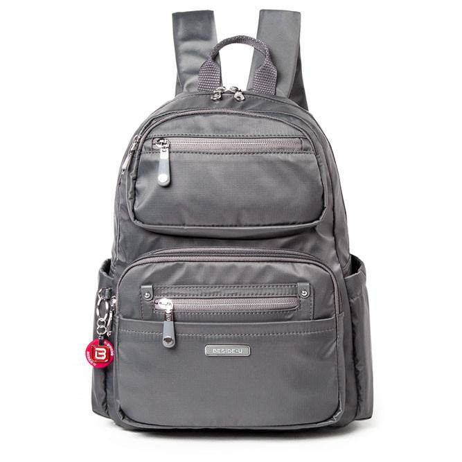 Backpack - Amarillo Leather Trimmed Adventurer Backpack Front [Kitten Grey]