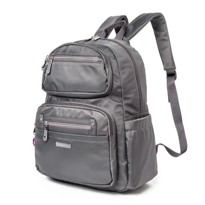 Backpack - Amarillo Leather Trimmed Adventurer Backpack Angled [Kitten Grey]