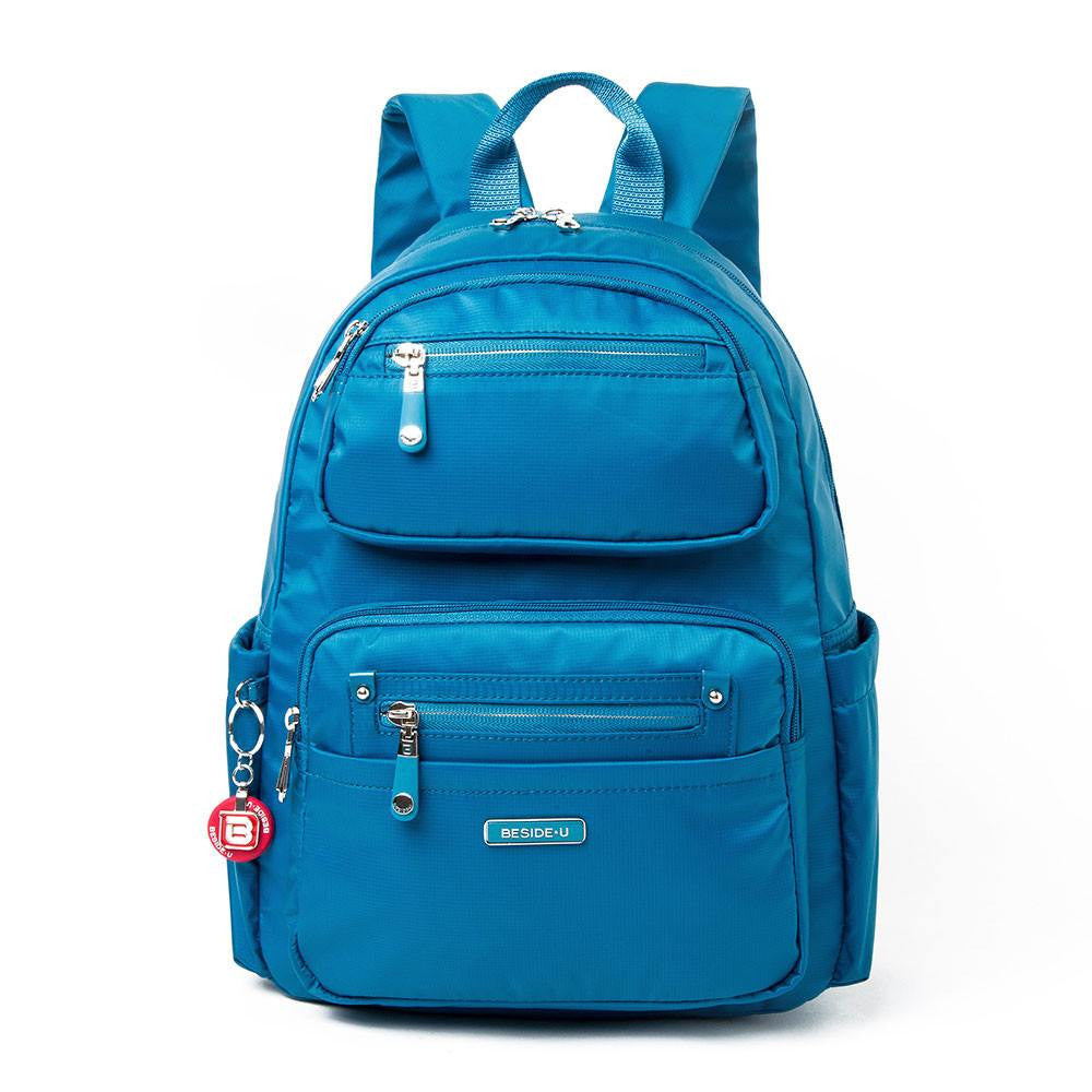 Backpack - Amarillo Leather Trimmed Adventurer Backpack Front [Sapphire Blue]