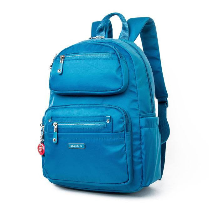 Backpack - Amarillo Leather Trimmed Adventurer Backpack Angled [Sapphire Blue]