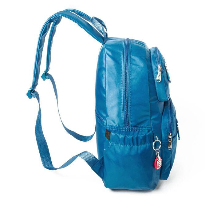 Backpack - Amarillo Leather Trimmed Adventurer Backpack Side [Sapphire Blue]