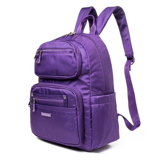 Backpack - Amarillo Leather Trimmed Adventurer Backpack Angled [Majesty Purple]