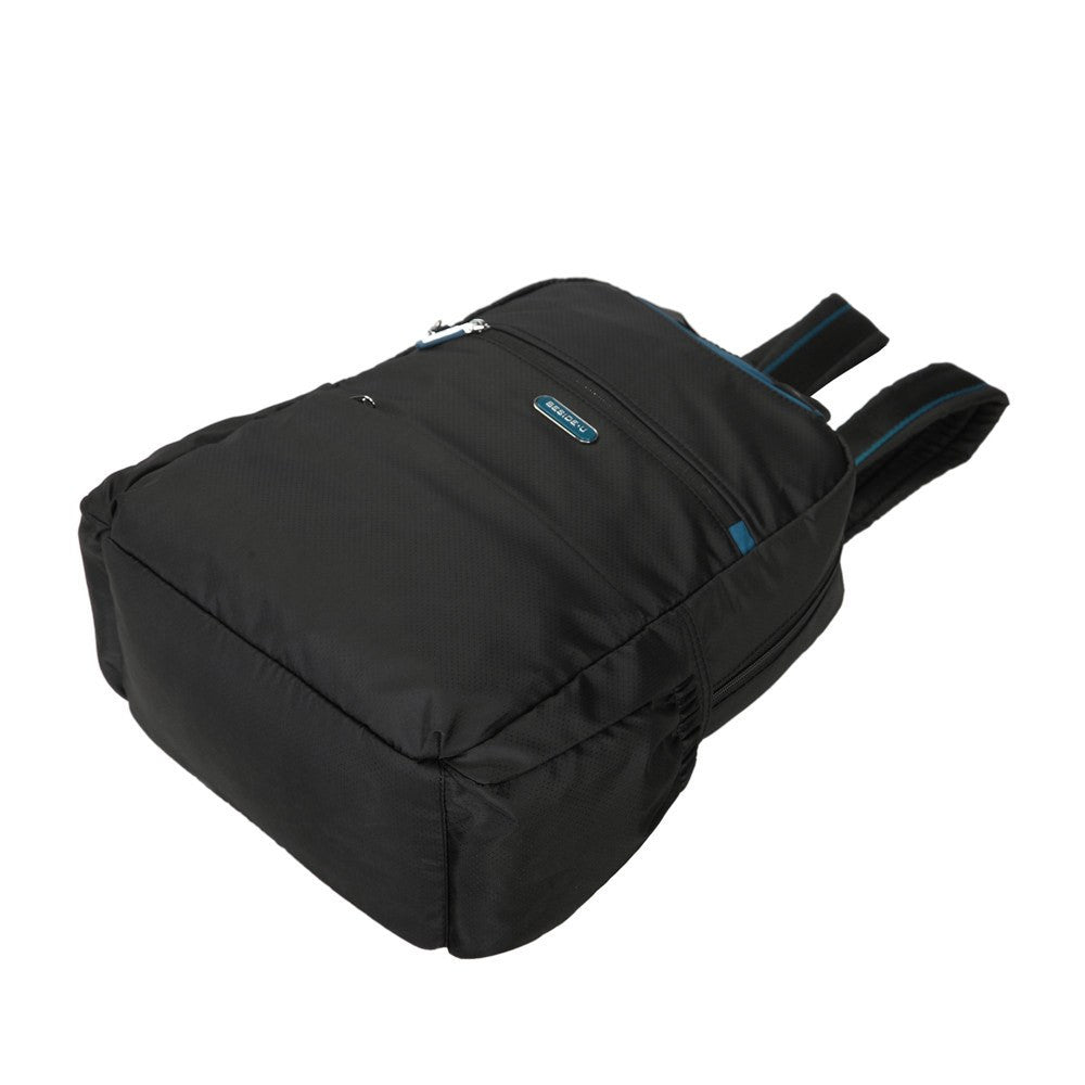 Backpack - Andie Color Trimmed Multi-Functional Backpack Lying Down [Black And Ink Blue]