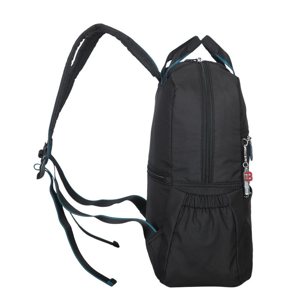 Backpack - Andie Color Trimmed Multi-Functional Backpack Side [Black And Ink Blue]