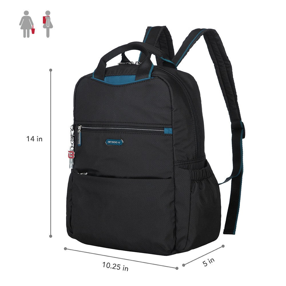 Backpack - Andie Color Trimmed Multi-Functional Backpack Size [Black And Ink Blue]