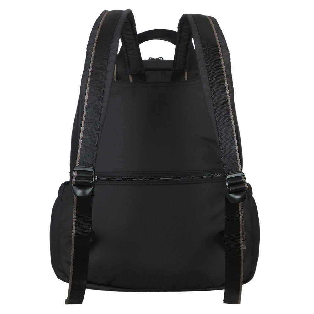 Backpack - Andie Color Trimmed Multi-Functional Backpack Back [Black And Puce Grey]