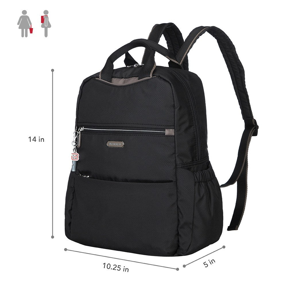 Backpack - Andie Color Trimmed Multi-Functional Backpack Size [Black And Puce Grey]