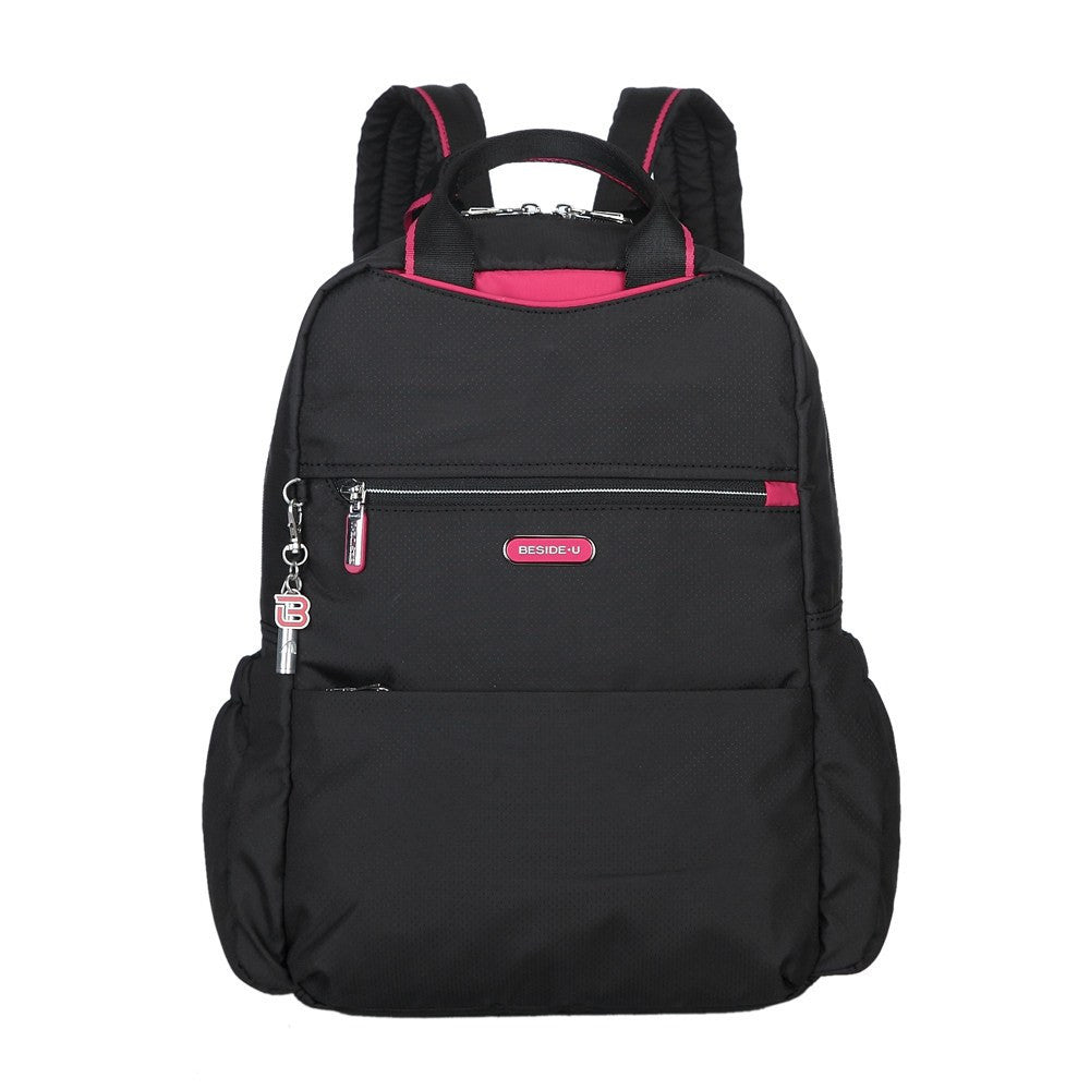 Backpack - Andie Color Trimmed Multi-Functional Backpack Front [Black And Rio Red]