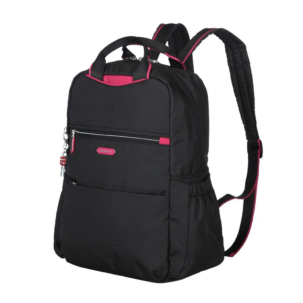 Backpack - Andie Color Trimmed Multi-Functional Backpack Angled [Black And Rio Red]
