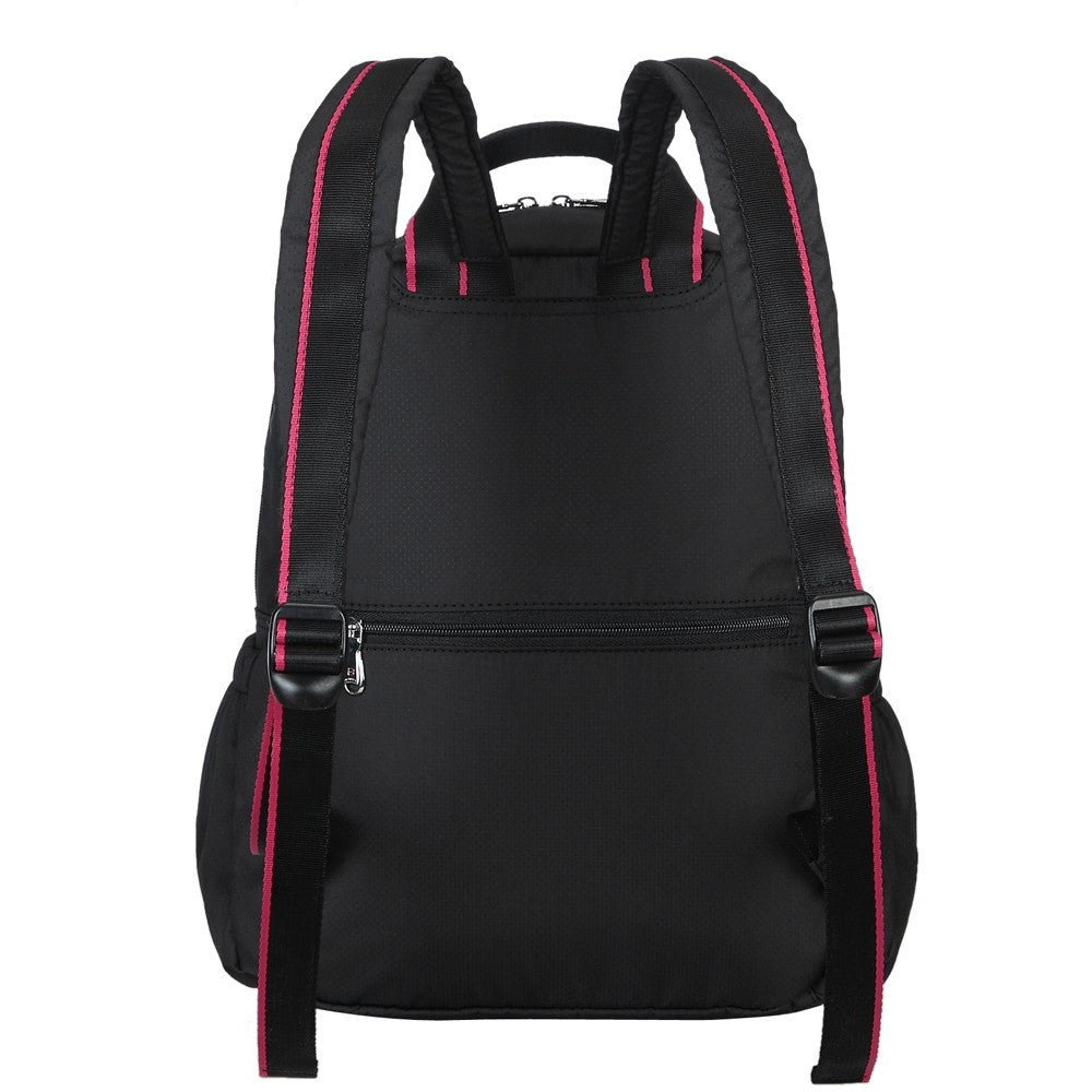 Backpack - Andie Color Trimmed Multi-Functional Backpack Back [Black And Rio Red]