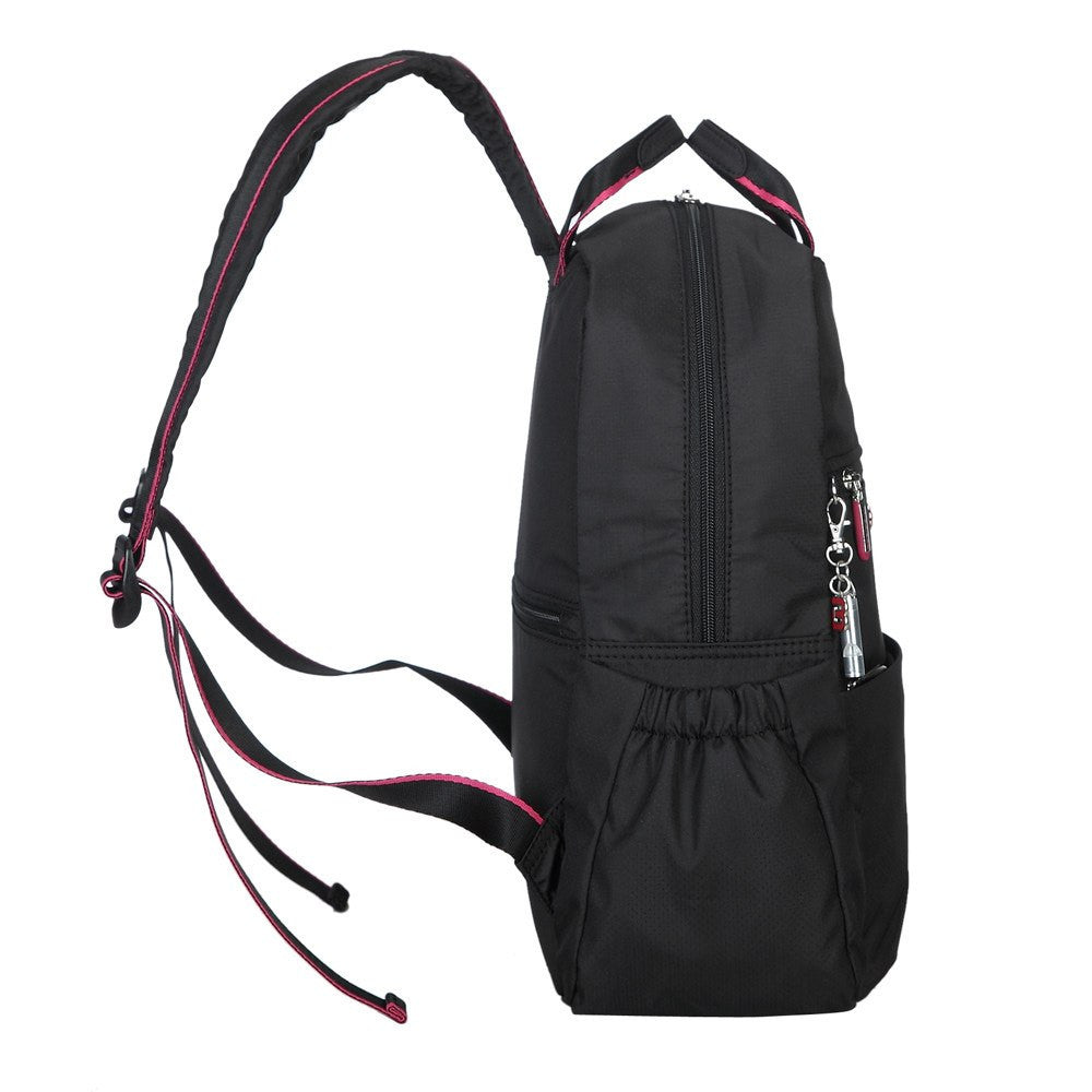 Backpack - Andie Color Trimmed Multi-Functional Backpack Side [Black And Rio Red]