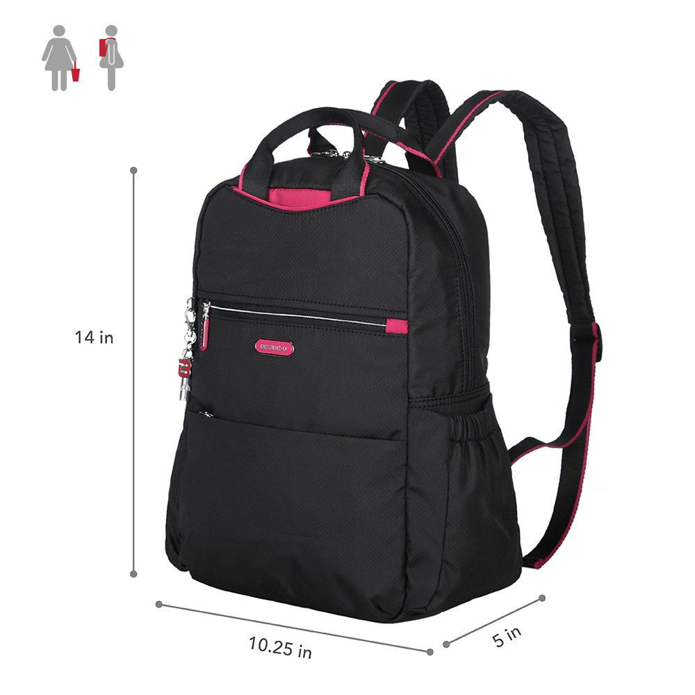 Backpack - Andie Color Trimmed Multi-Functional Backpack Size [Black And Rio Red]