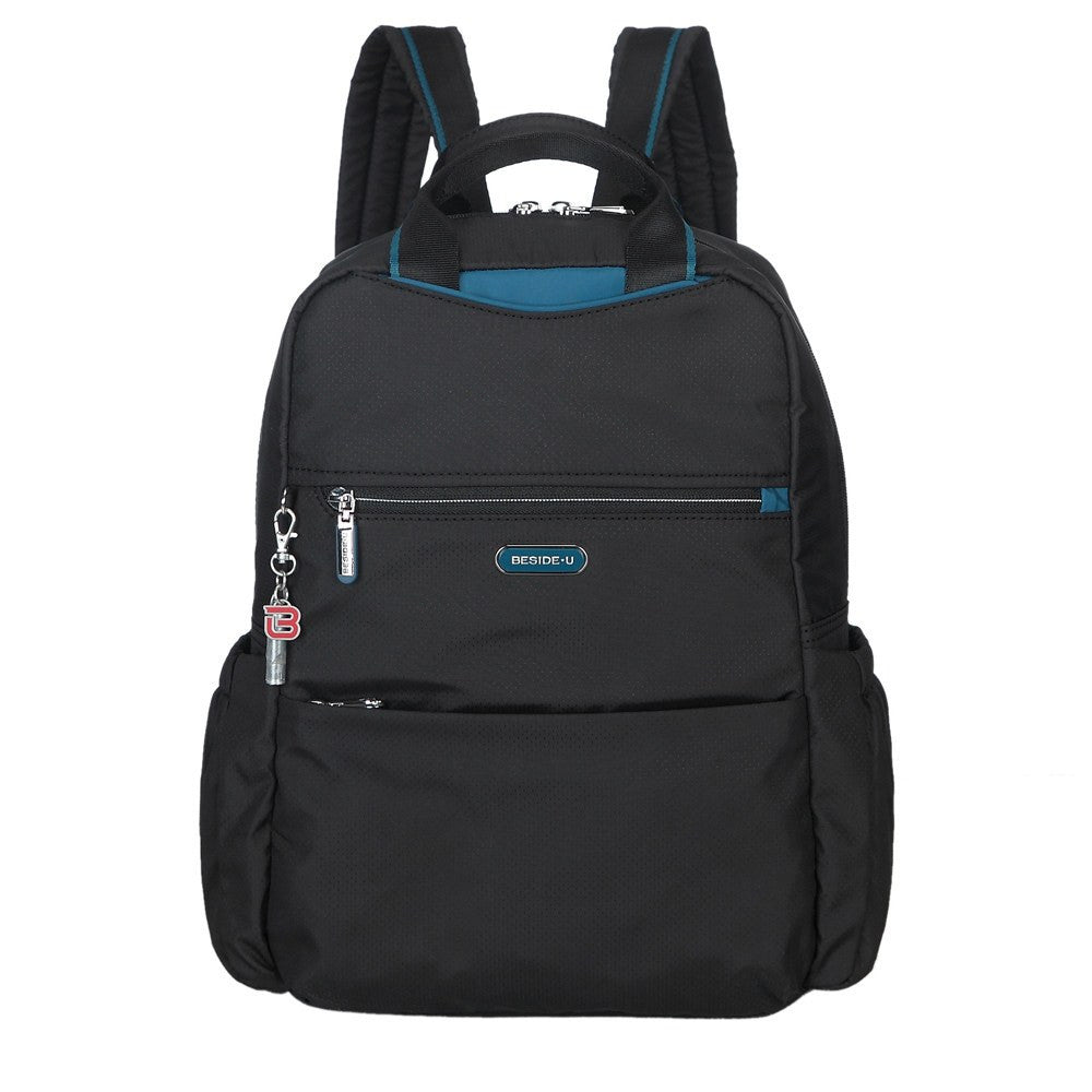 Backpack - Andie Color Trimmed Multi-Functional Backpack Front [Black And Ink Blue]