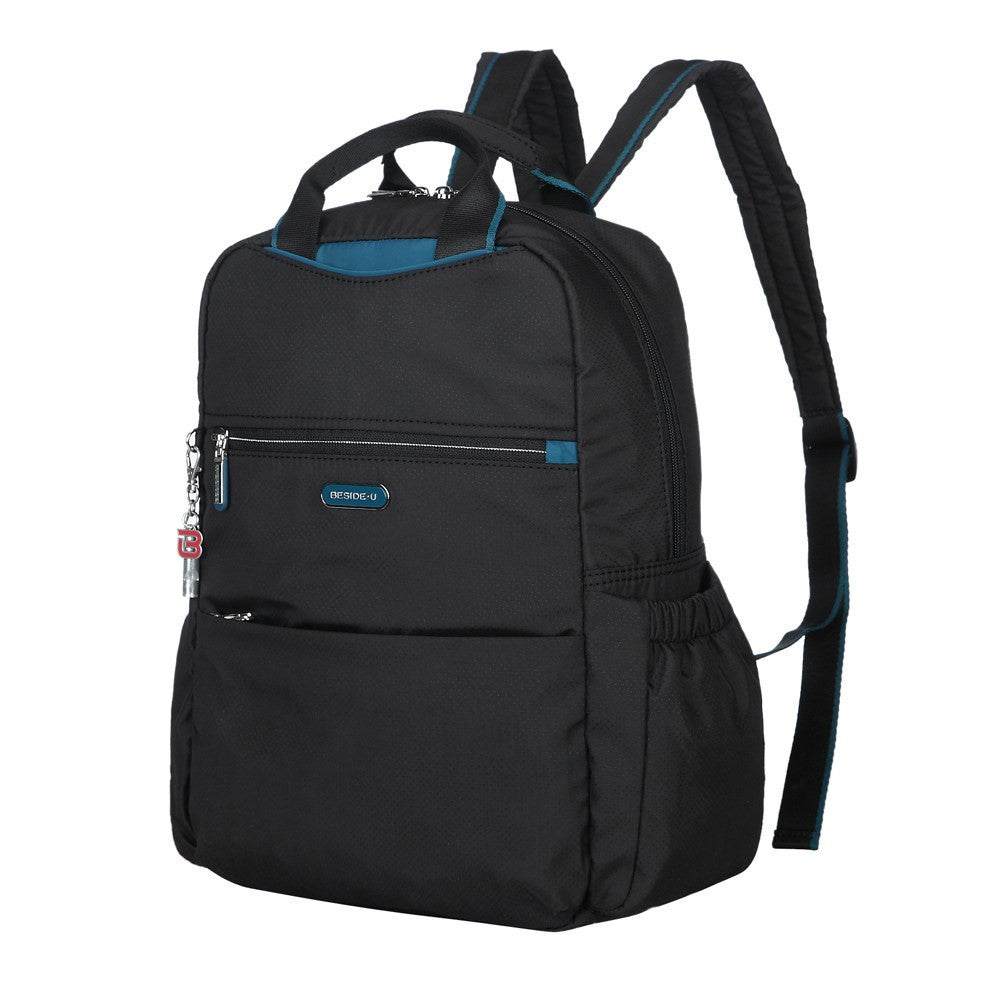 Backpack - Andie Color Trimmed Multi-Functional Backpack Angled [Black And Ink Blue]