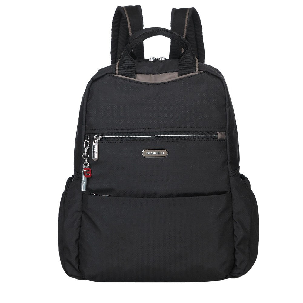 Backpack - Andie Color Trimmed Multi-Functional Backpack In Puce Grey Front [Black And Puce Grey]