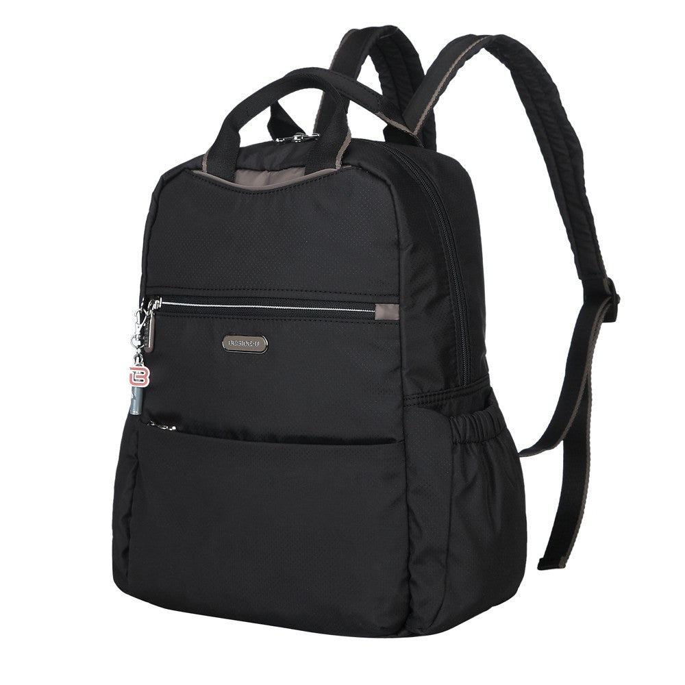 Backpack - Andie Color Trimmed Multi-Functional Backpack In Puce Grey Angled [Black And Puce Grey]
