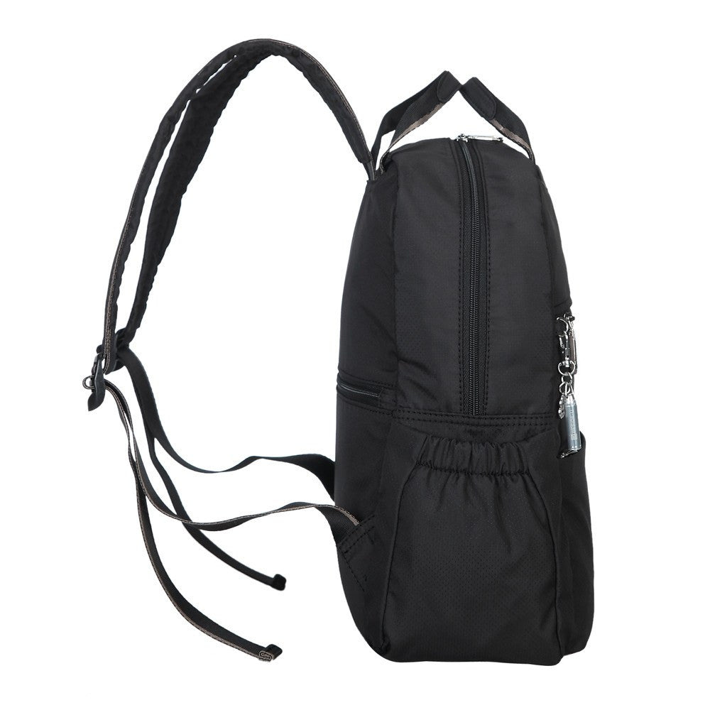 Backpack - Andie Color Trimmed Multi-Functional Backpack In Puce Grey Side [Black And Puce Grey]