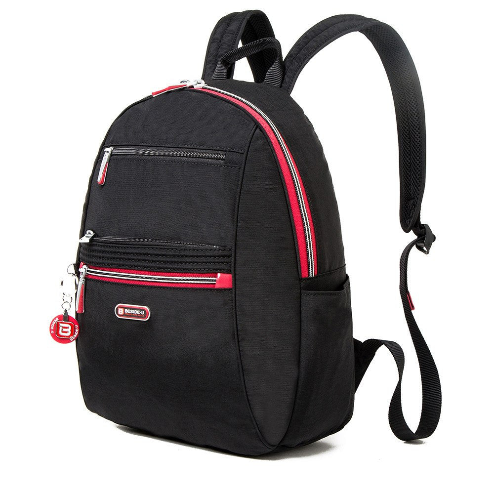 Backpack - Felix Two-Tone Compact Travel Backpack Angled [Black And Dark Red]