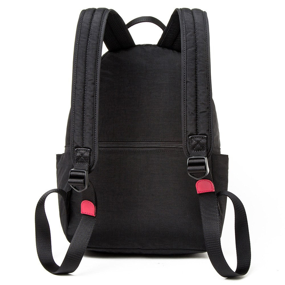 Backpack - Felix Two-Tone Compact Travel Backpack Back [Black And Dark Red]