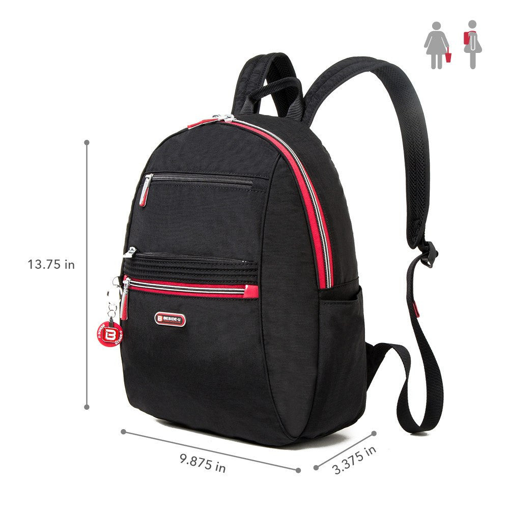 Backpack - Felix Two-Tone Compact Travel Backpack Size [Black And Dark Red]