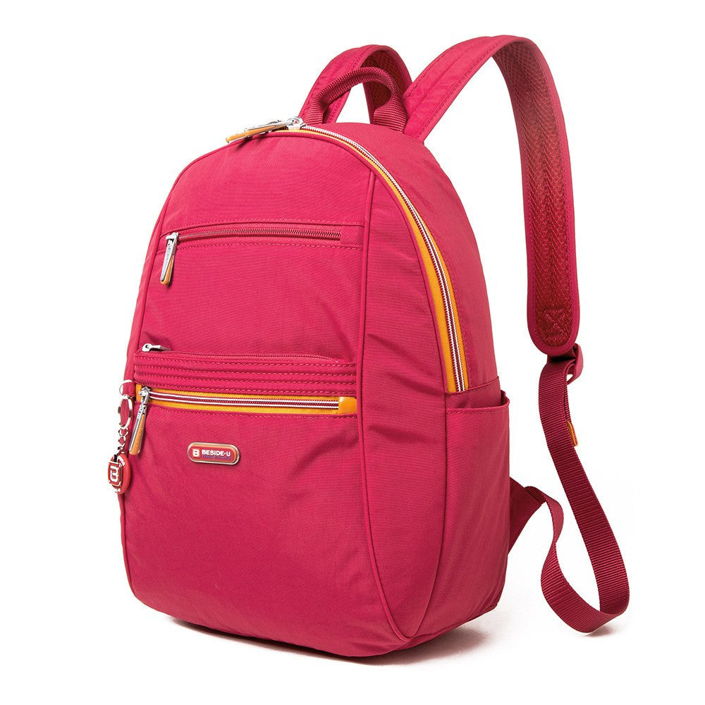 Backpack - Felix Two-Tone Compact Travel Backpack Angled [Heart Red]