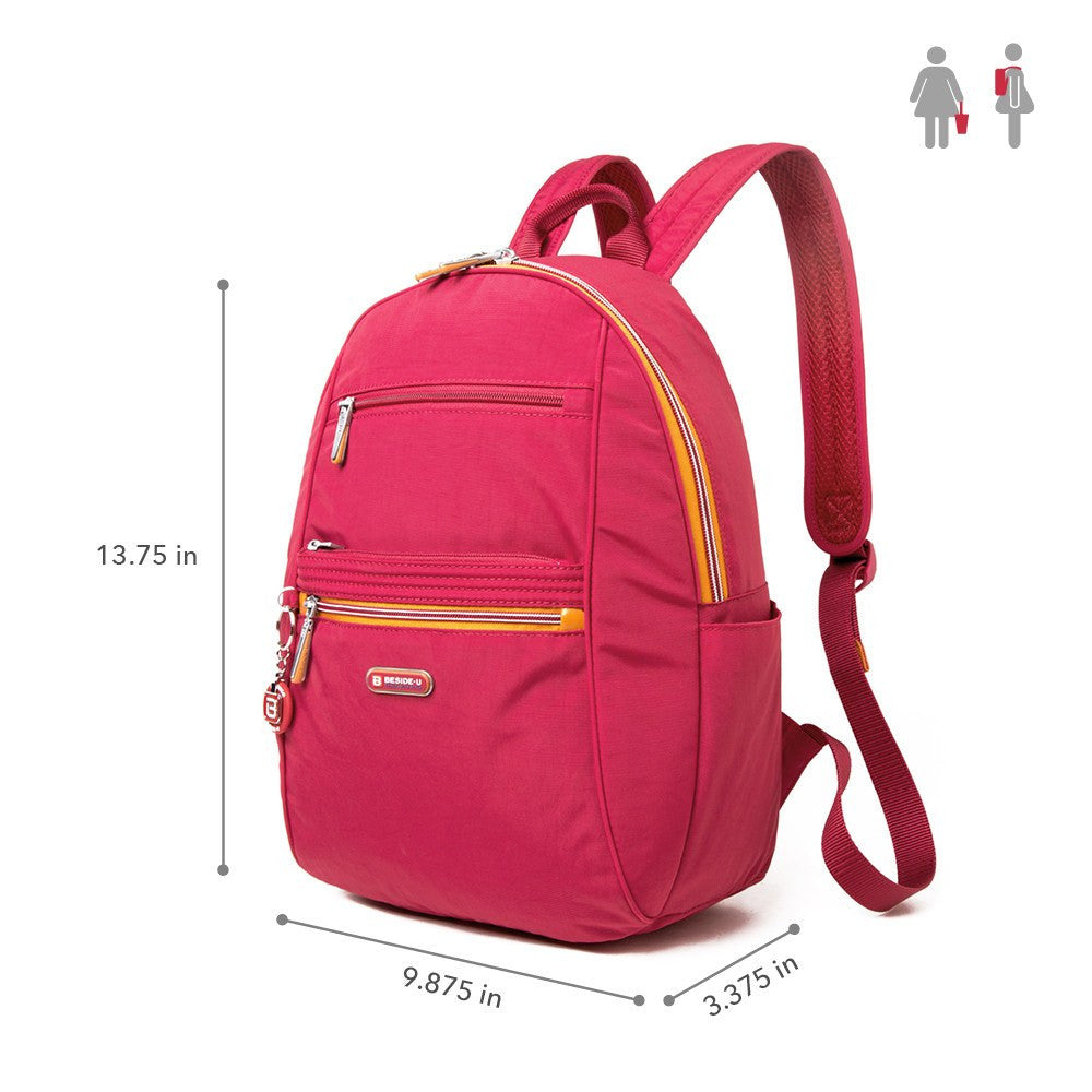 Backpack - Felix Two-Tone Compact Travel Backpack Size [Heart Red]
