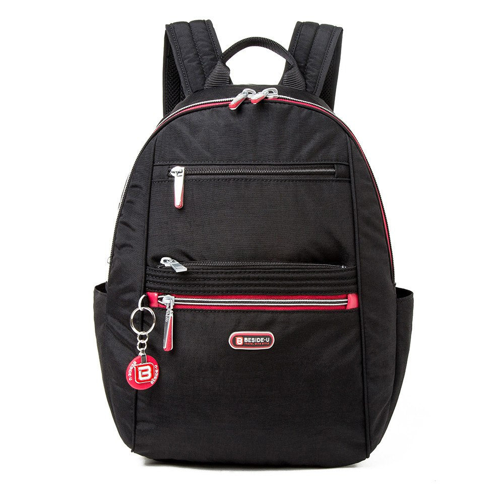 Backpack - Felix Two-Tone Compact Travel Backpack Front [Black And Dark Red]