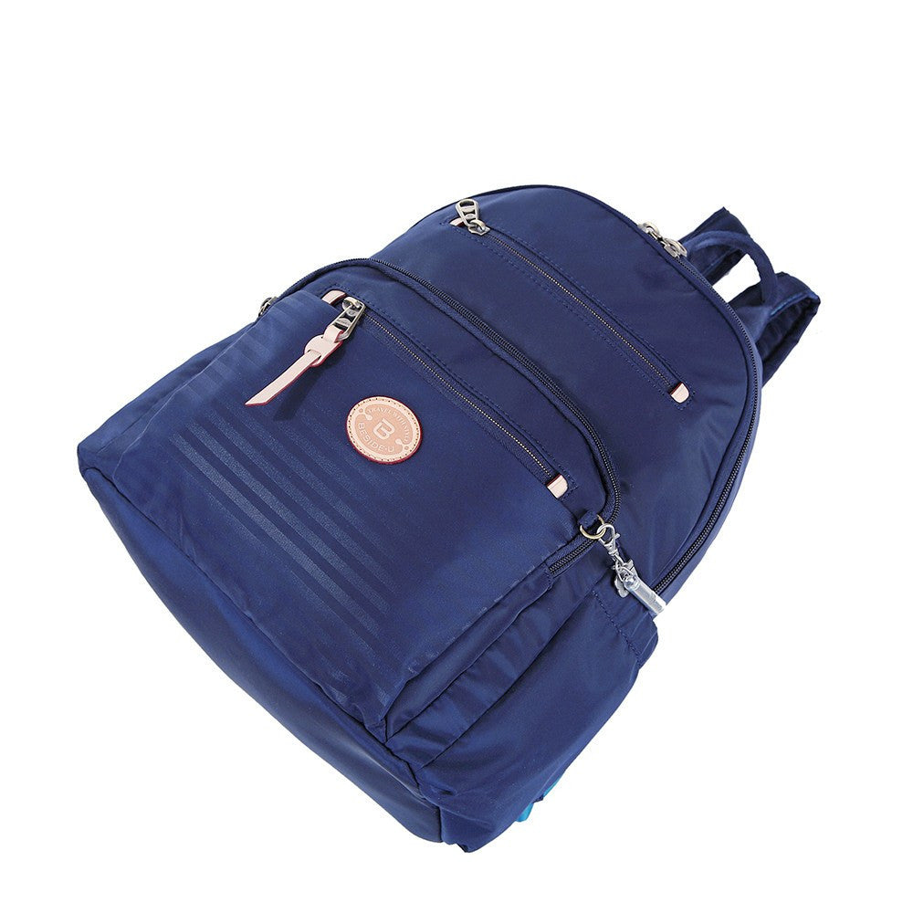 Backpack - Gosford Leather Trimmed Travel Backpack Lying Down [Evening Blue]